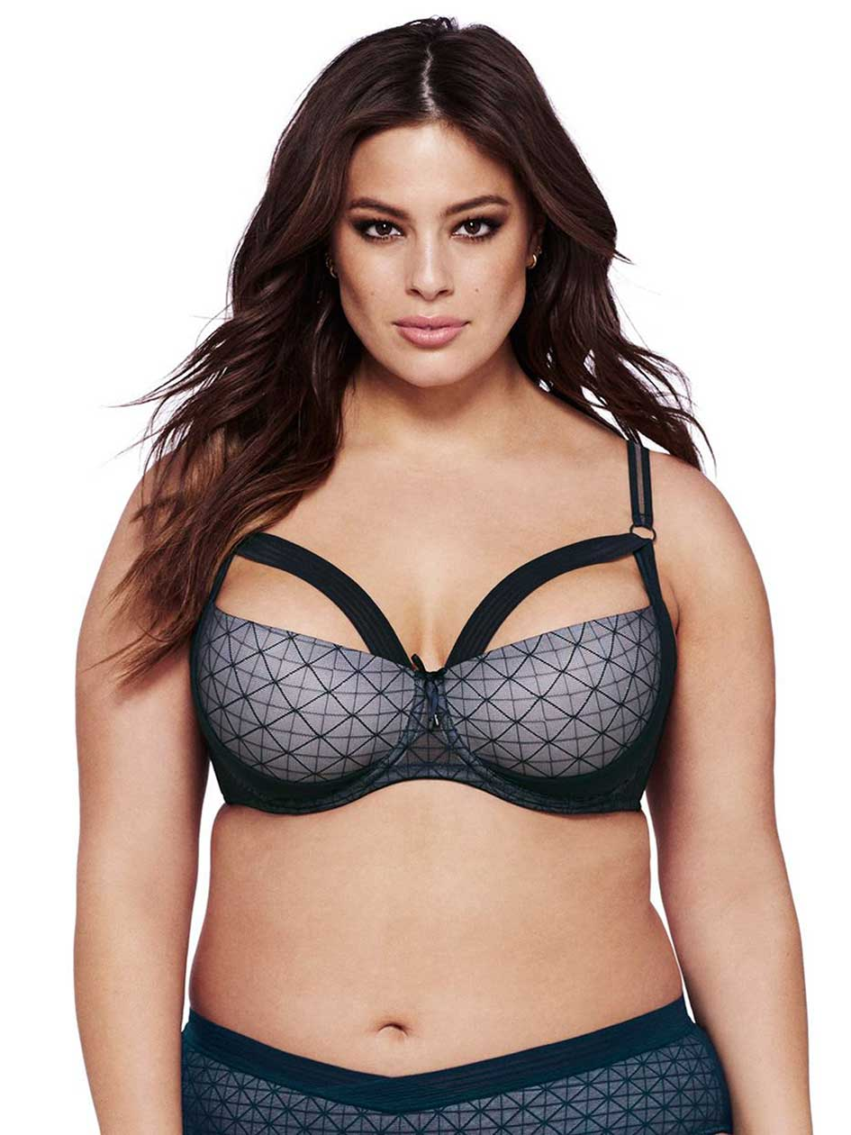 Ashley Graham Grey Diva Demi Cup Underwire Bra, Sizes G & H