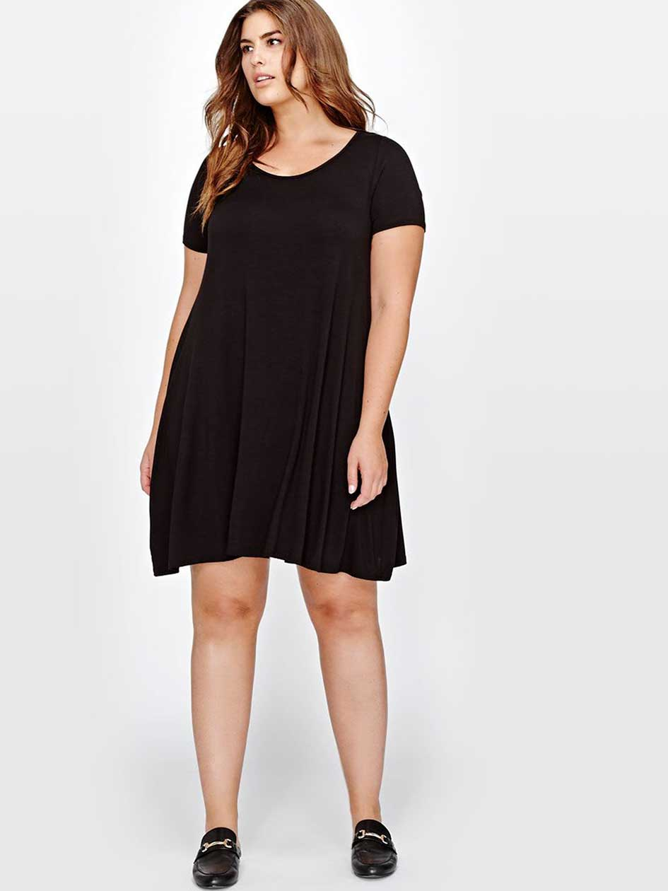 L&L Black Swing Dress with Scoop Neck