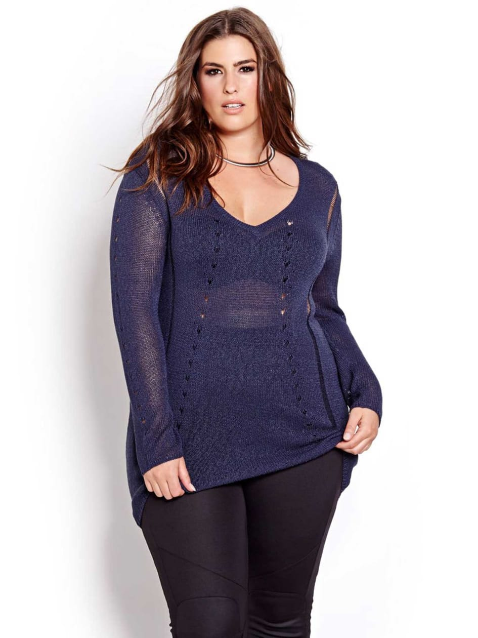 L&L High Low Pointelle Sweater