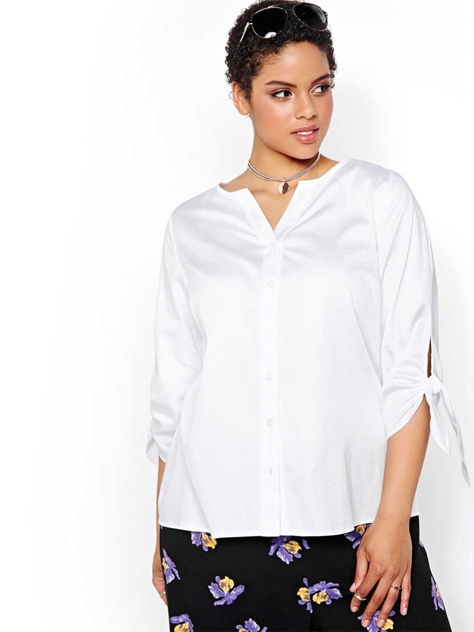 Michel Studio 3/4 Knotted Sleeve Blouse