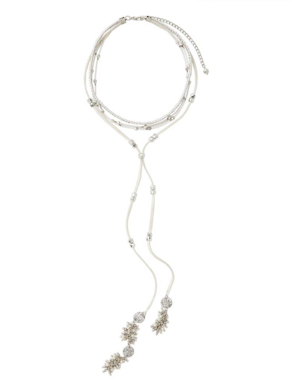 Collier choker en similisuède et collier long