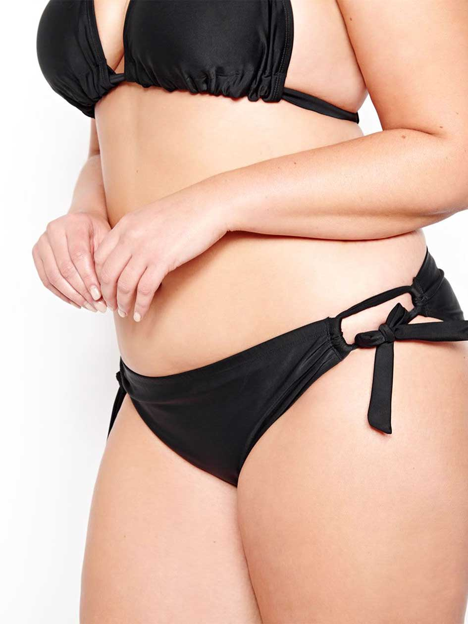 Cactus Bikini Bottom with Rounded Laces.black.4X