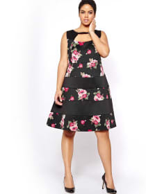 Michel Studio Peekaboo Neck Dress with Floral & Solid bands