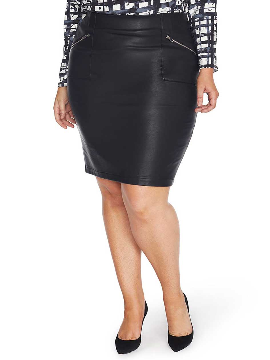Rebel Wilson Faux Leather Zipped Skirt