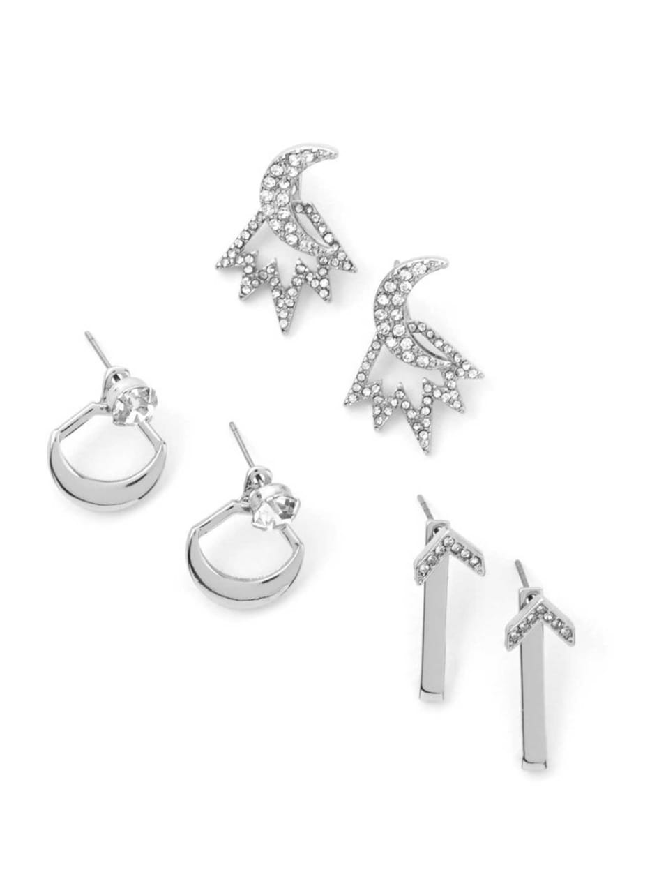 Trio of Silver-Colored Earrings with Rhinestones