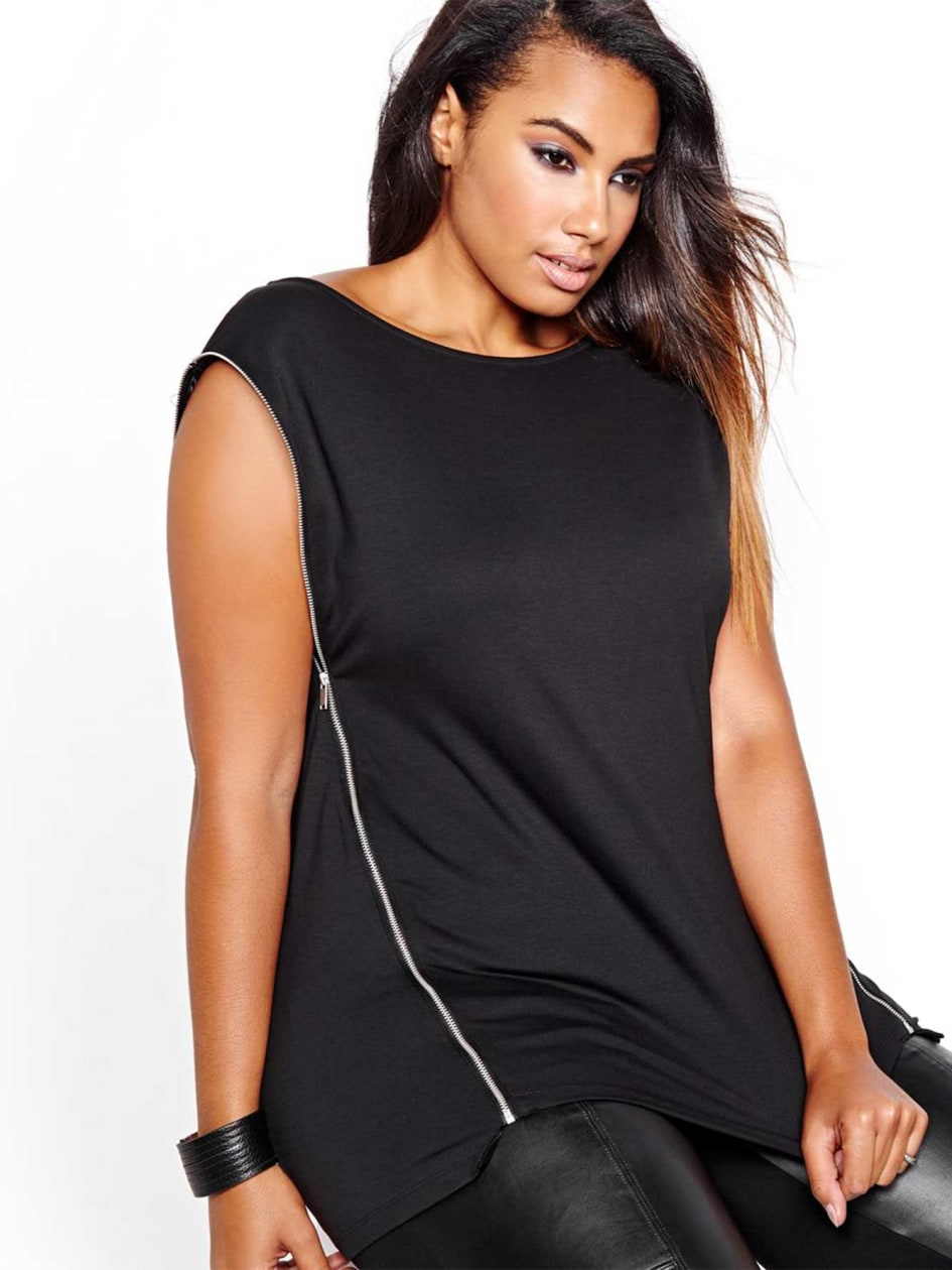 L&L Boat Neck Top with Side Zipper