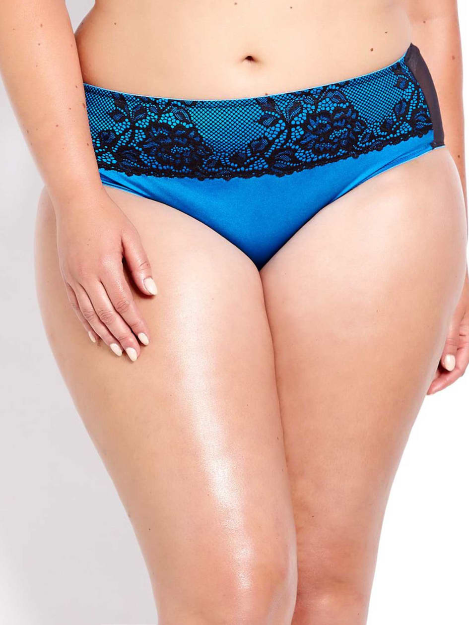 High Cut Panty with Lace at Waist - Déesse Collection