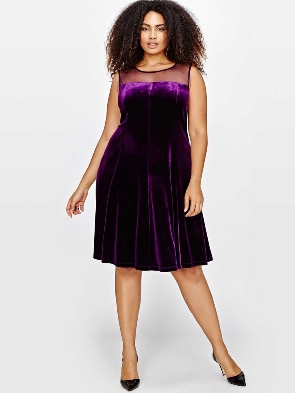 Velvet Dress With Mesh Detail