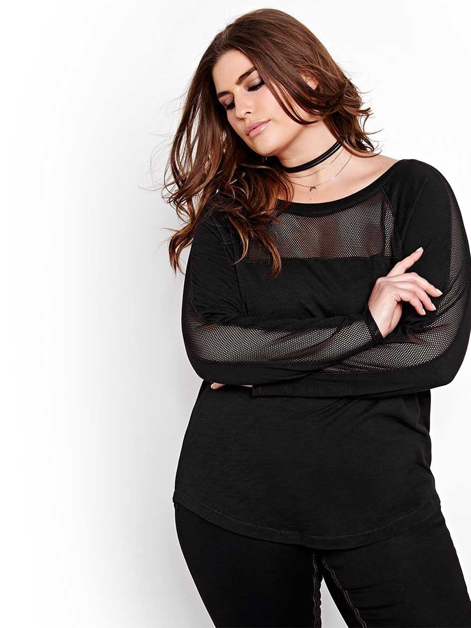 L&L Raglan Long Sleeve Top with Mesh Inserts