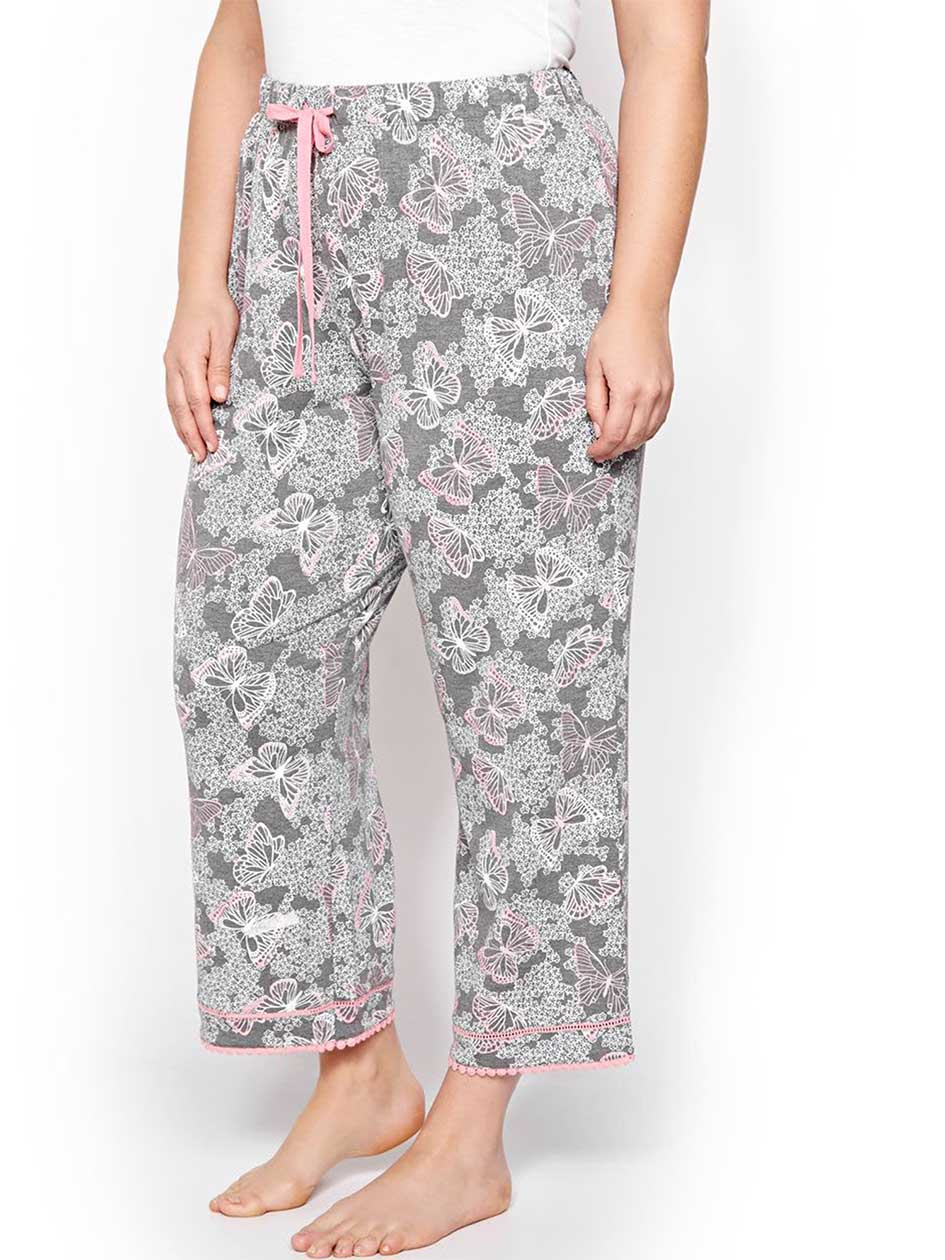Printed Capri Pajama with Pompoms - Déesse Collection