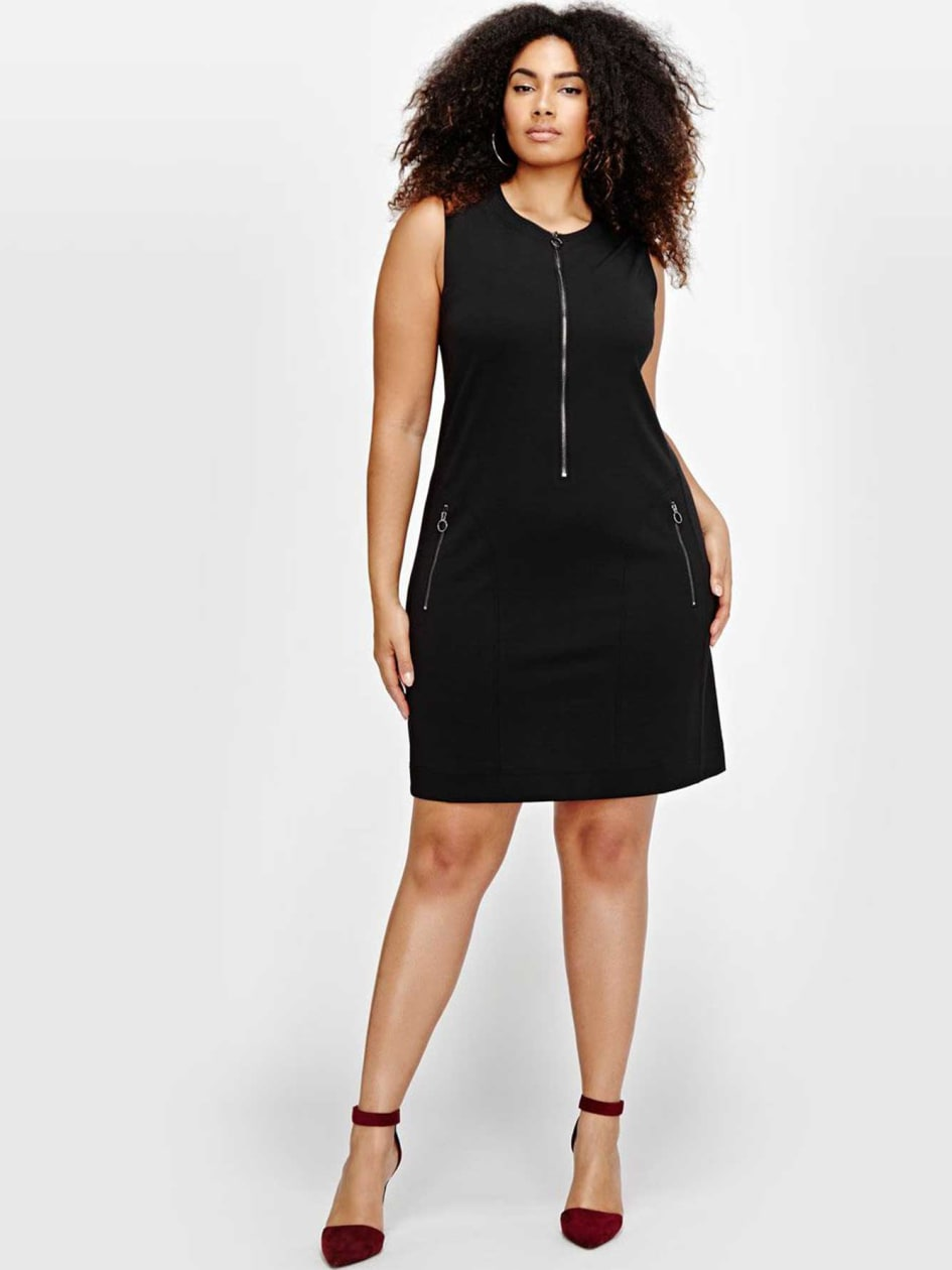 Michel Studio Sleeveless Shift Dress with Zip Details