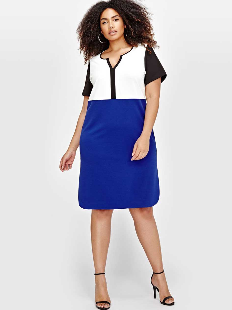 Michel Studio Color Blocked Dress