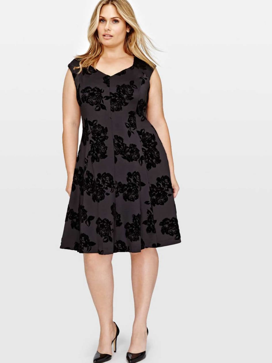 Michel Studio Fit & Flare Dress With Flower Print
