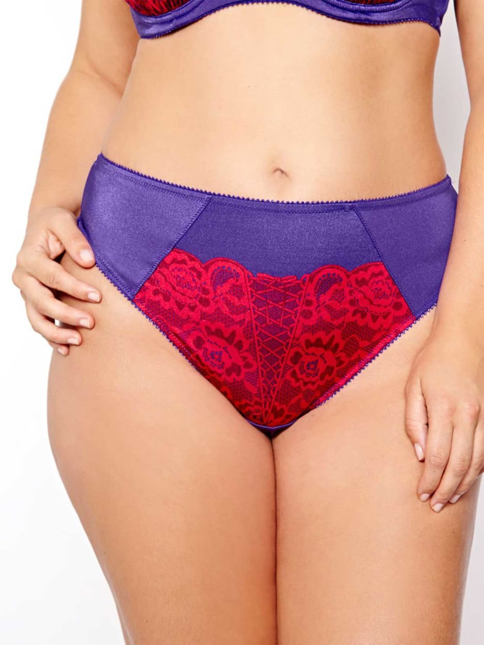 Contrast Lace Print Thong - D�esse Collection.petal.3X