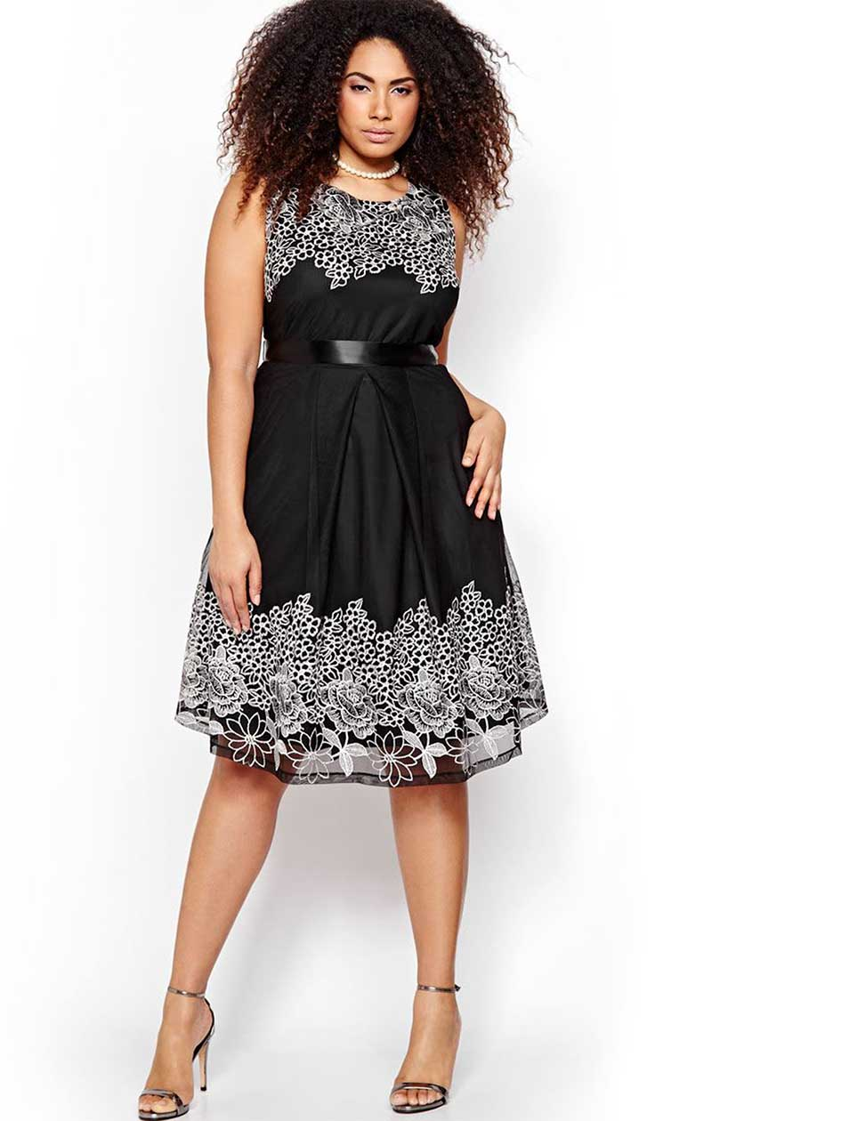 Michel Studio Two-Toned Dress with Lace