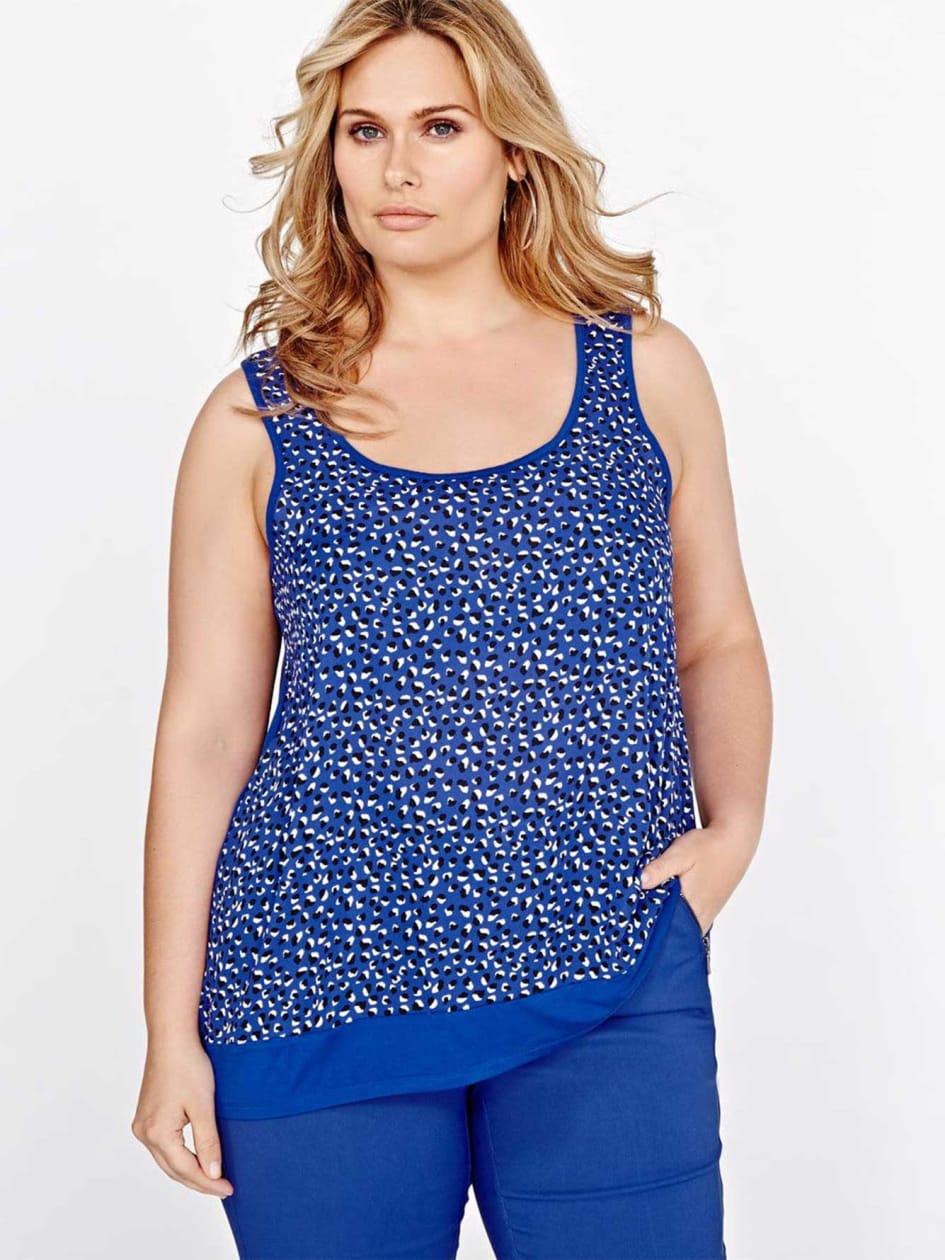 Michel Studio High-Low Tank Top with Printed Front