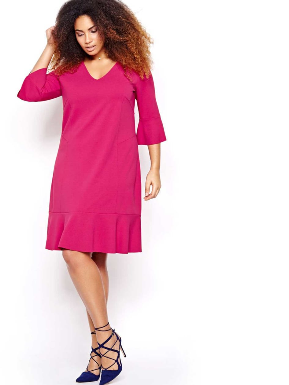 Michel Studio Three Quarter Bell Sleeve Dress