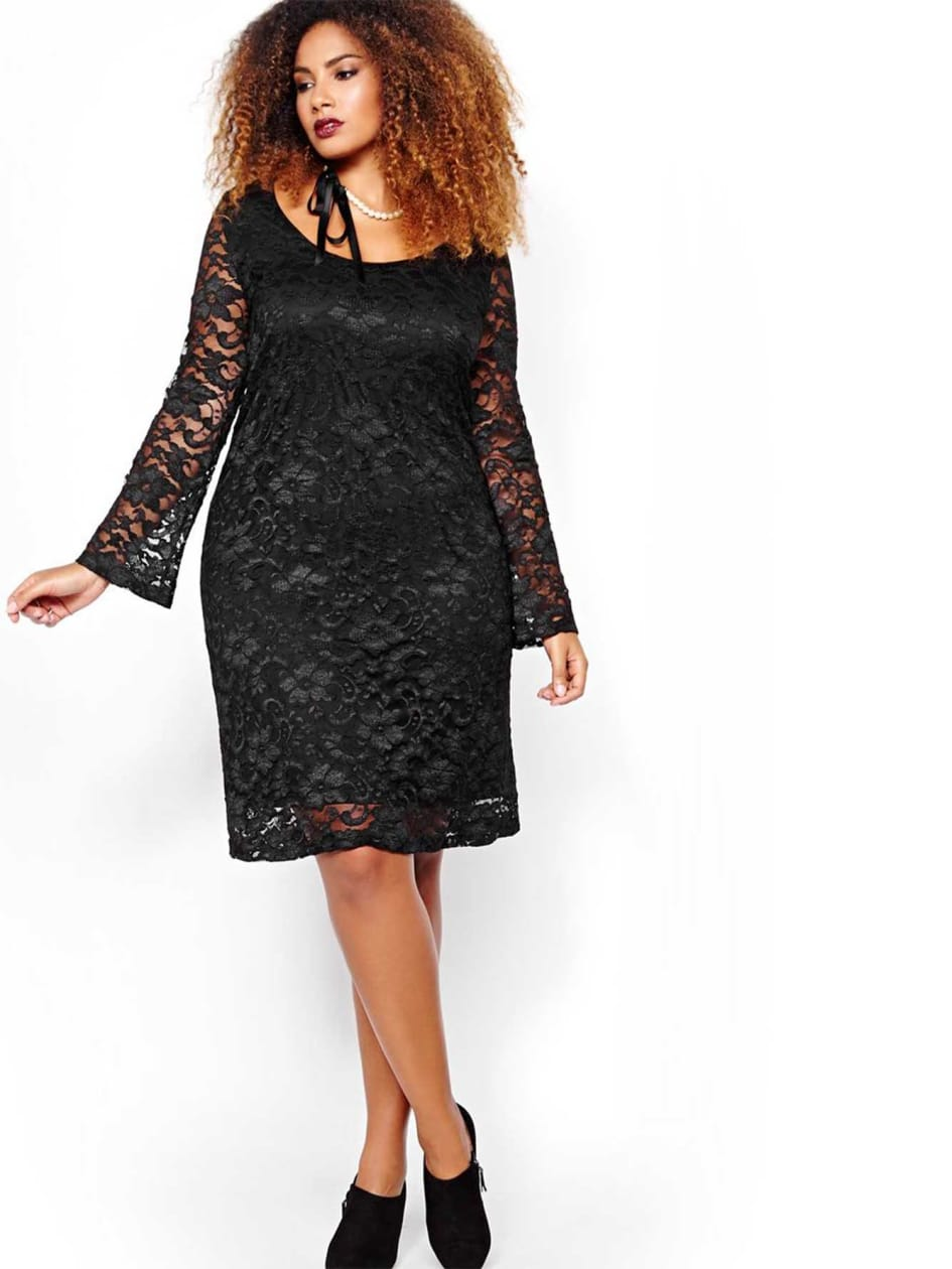 Michel Studio Lace Bell Sleeve and Scoop Neck Dress