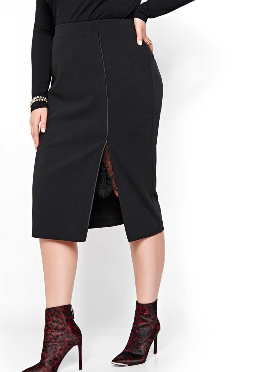 Michel Studio Skirt with Side Slit & Lace
