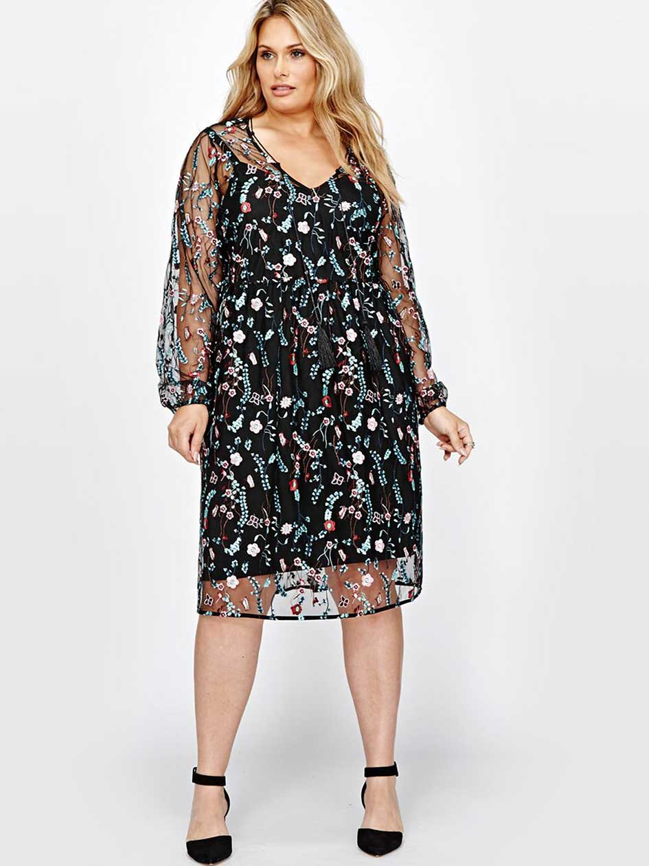 Michel Studio Embroidered Long Sleeves Dress