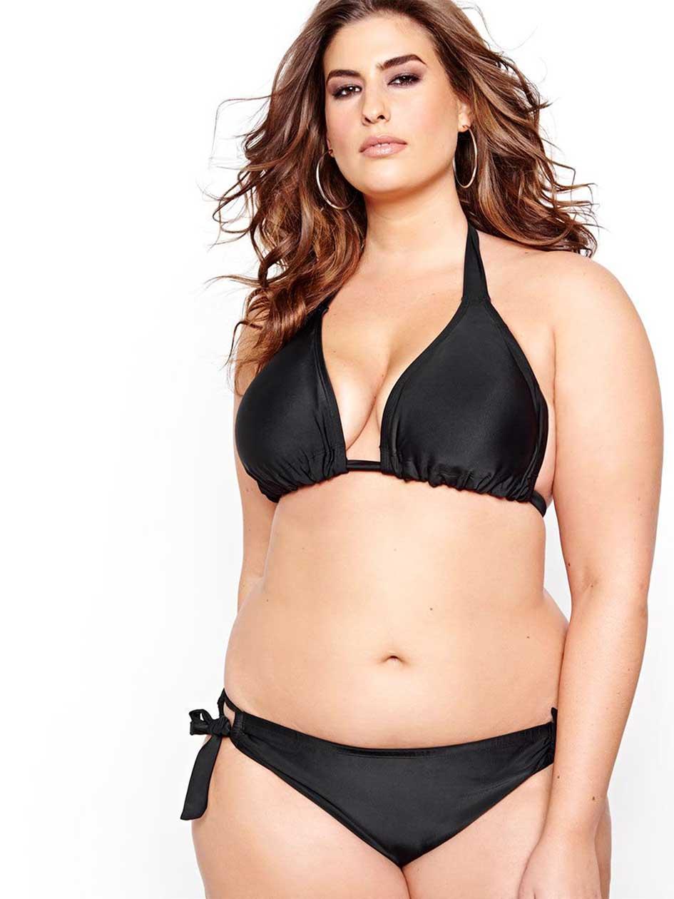 Cactus Triangular Bikini Top.black.4X
