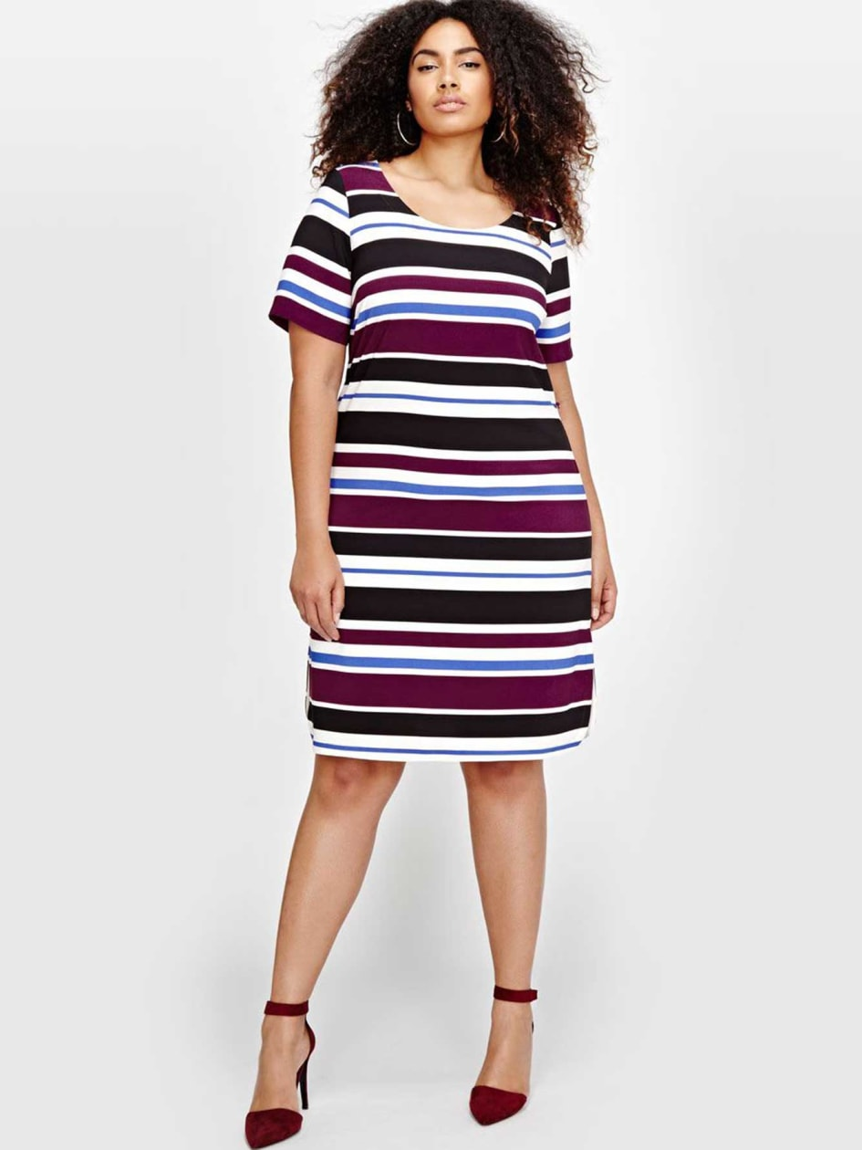 Michel Studio Striped Belted Dress