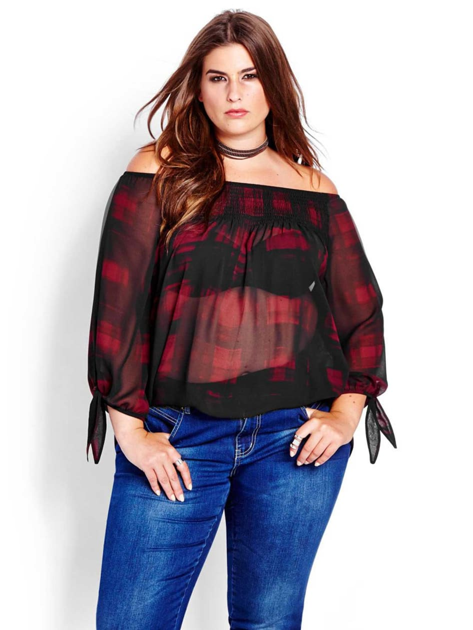 L&L Flowing Chiffon Off The Shoulder Top