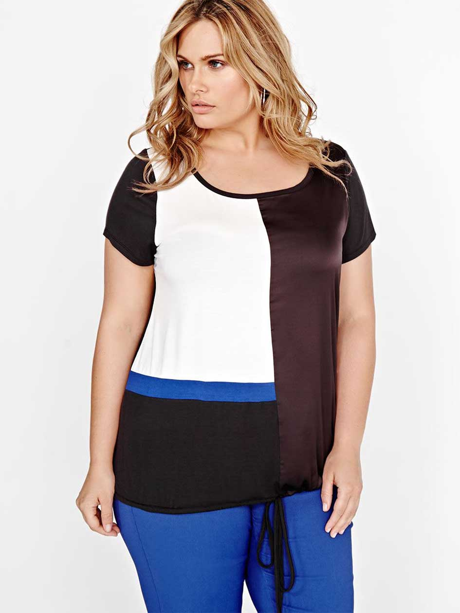 Michel Studio Short Sleeve Color Block Blouse