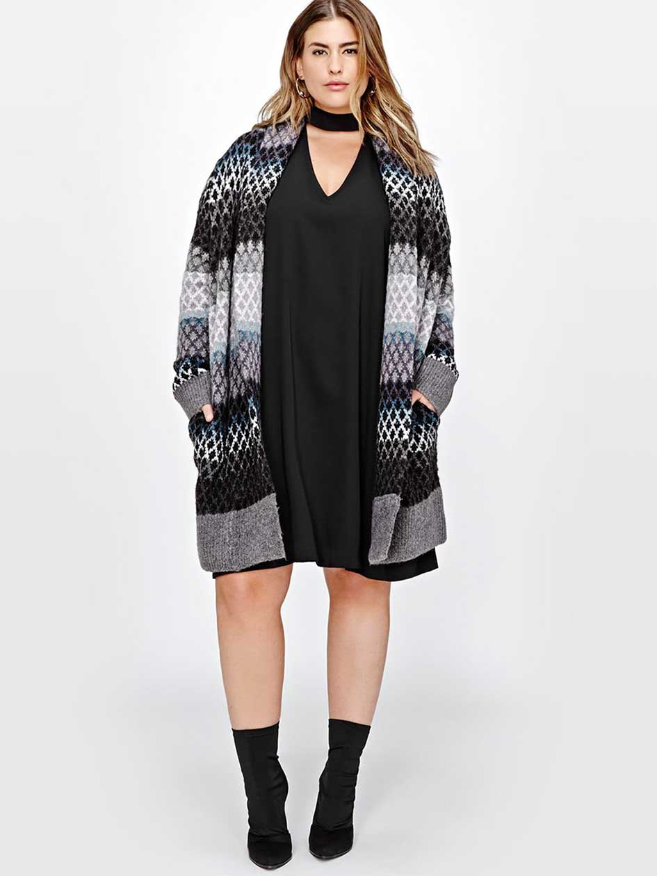 Rachel Roy Ombre & Diamond Print Sweater Coat