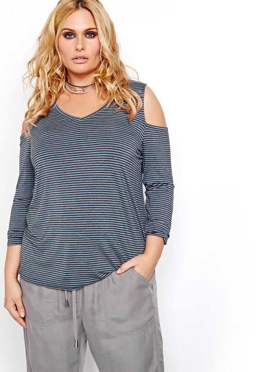 L&L Cold Shoulder V-neck Top