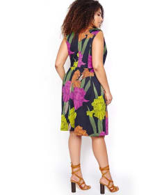 Sangria Printed Dress with Notable Flowers