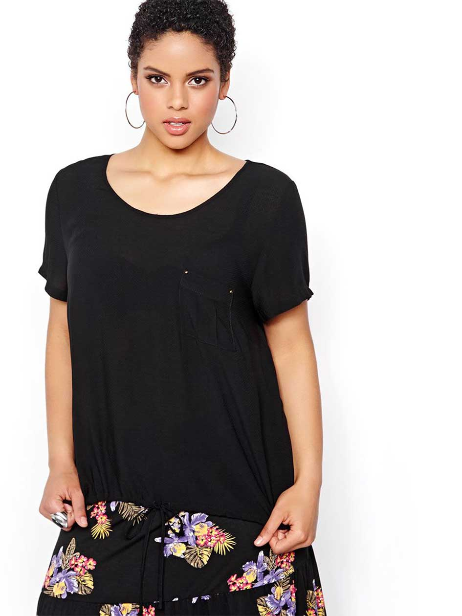 Michel Studio Short Sleeved Solid Blouse
