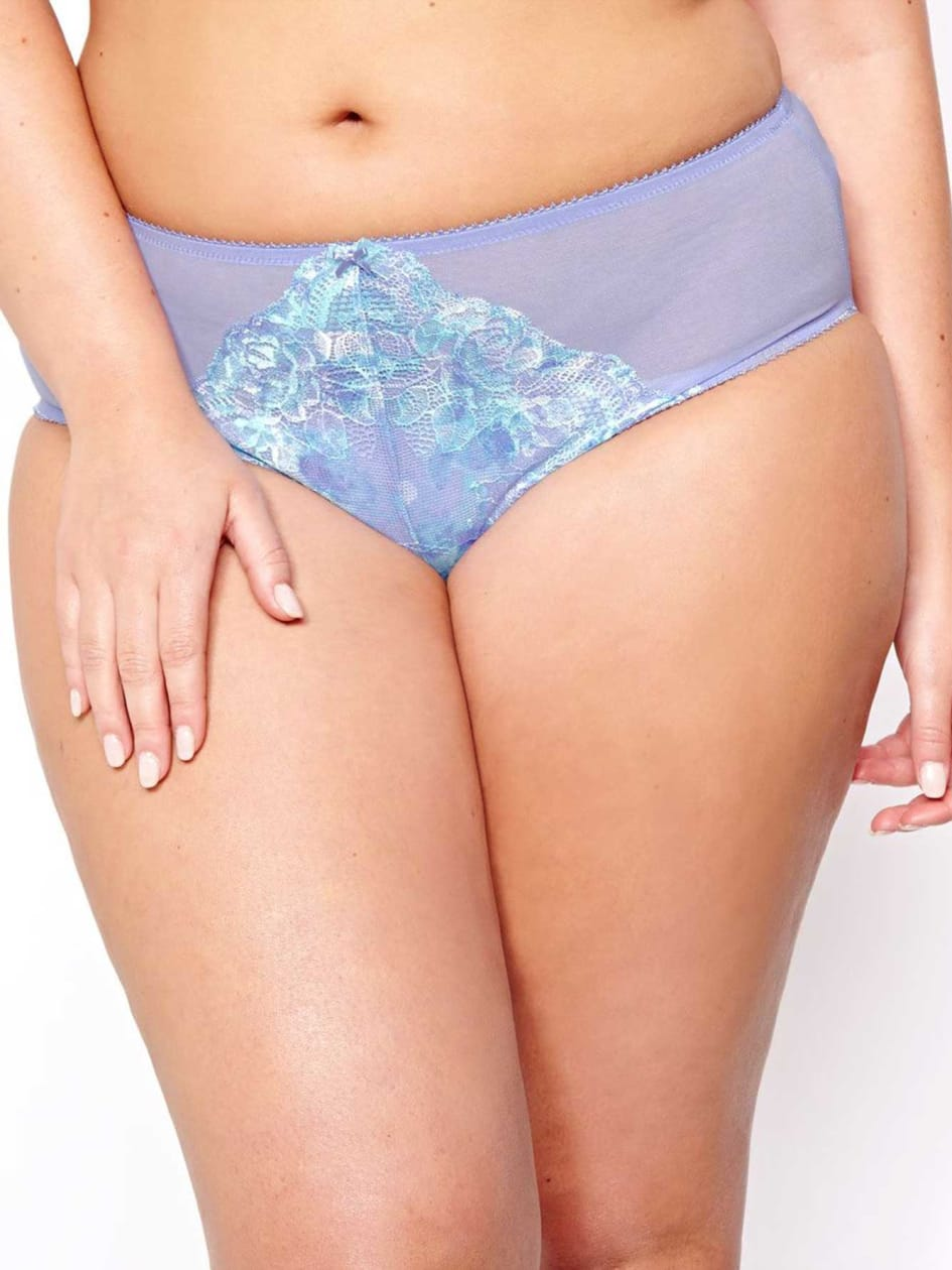 High Cut Panty with Printed Scalloped Lace - Déesse Collection