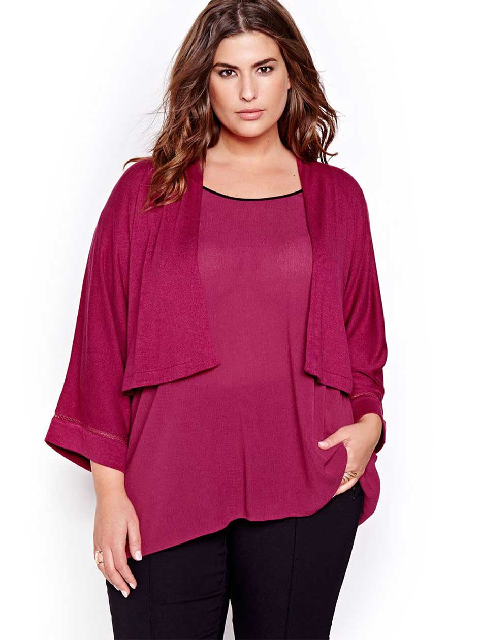 Michel Studio Three Quarter Kimono Sleeve Cardigan