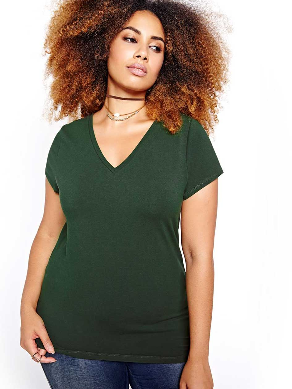 Fitted V-neck Tee
