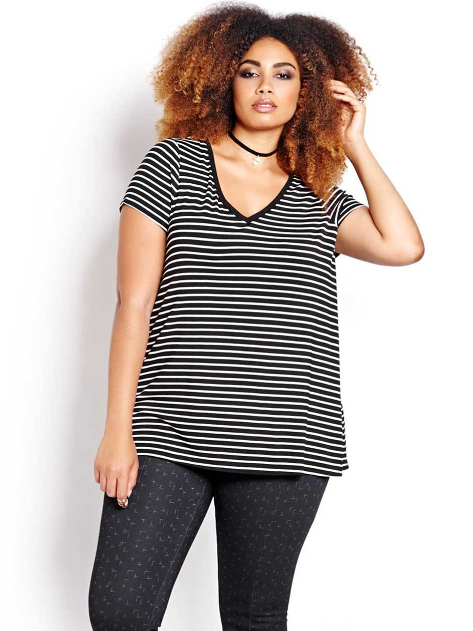 Michel Studio Striped V-neck Tee