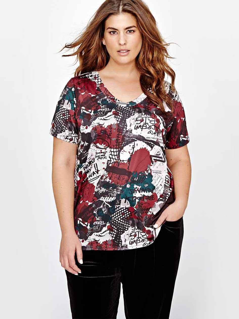 Nola All Over Print Side Slit T-Shirt