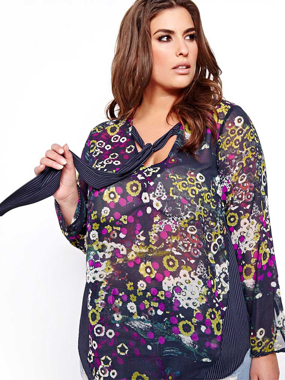 Rachel Roy Mixed Print Blouse