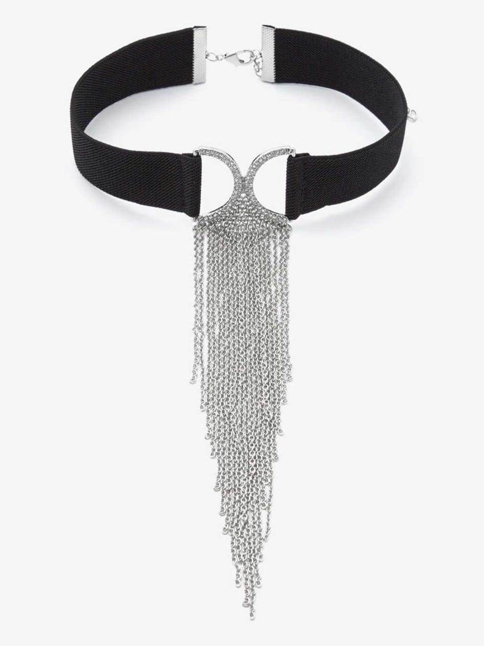 Elastic Choker Necklace with Chains