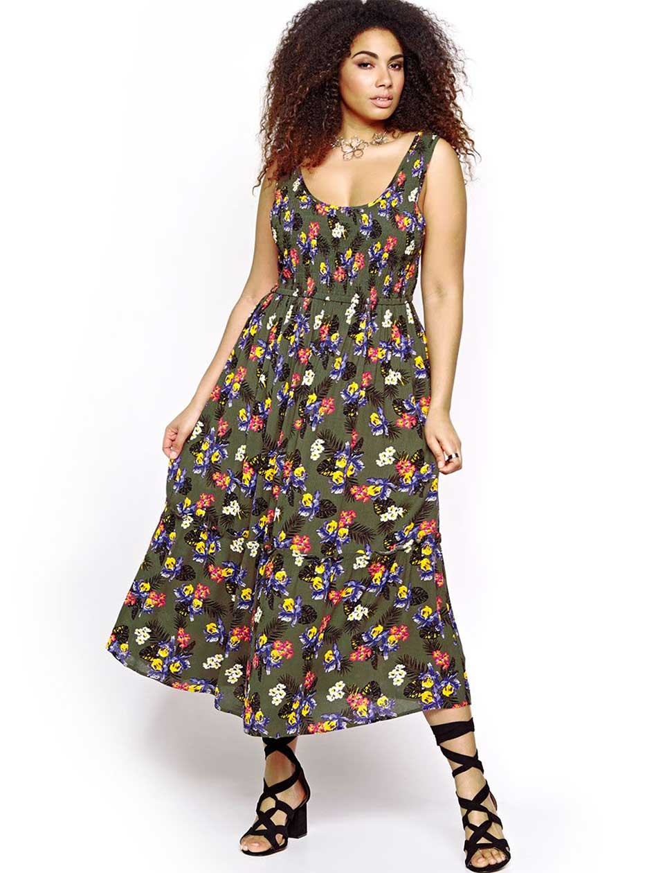 Michel Studio Smocked Printed Maxi Dress