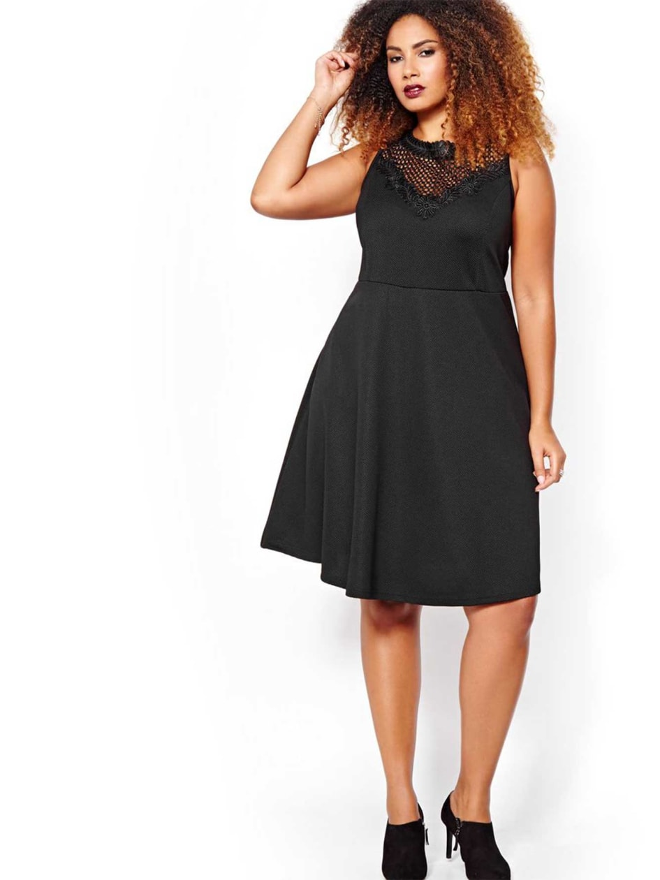 Michel Studio Fit and Flare Dress with Perforated Neckline
