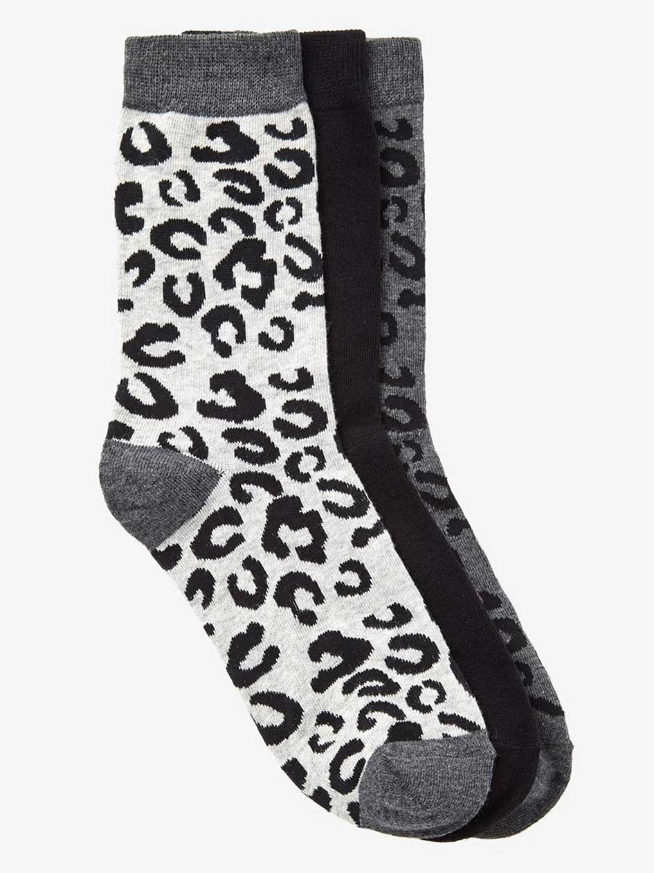 Animal Print 3-Pack Combo Socks