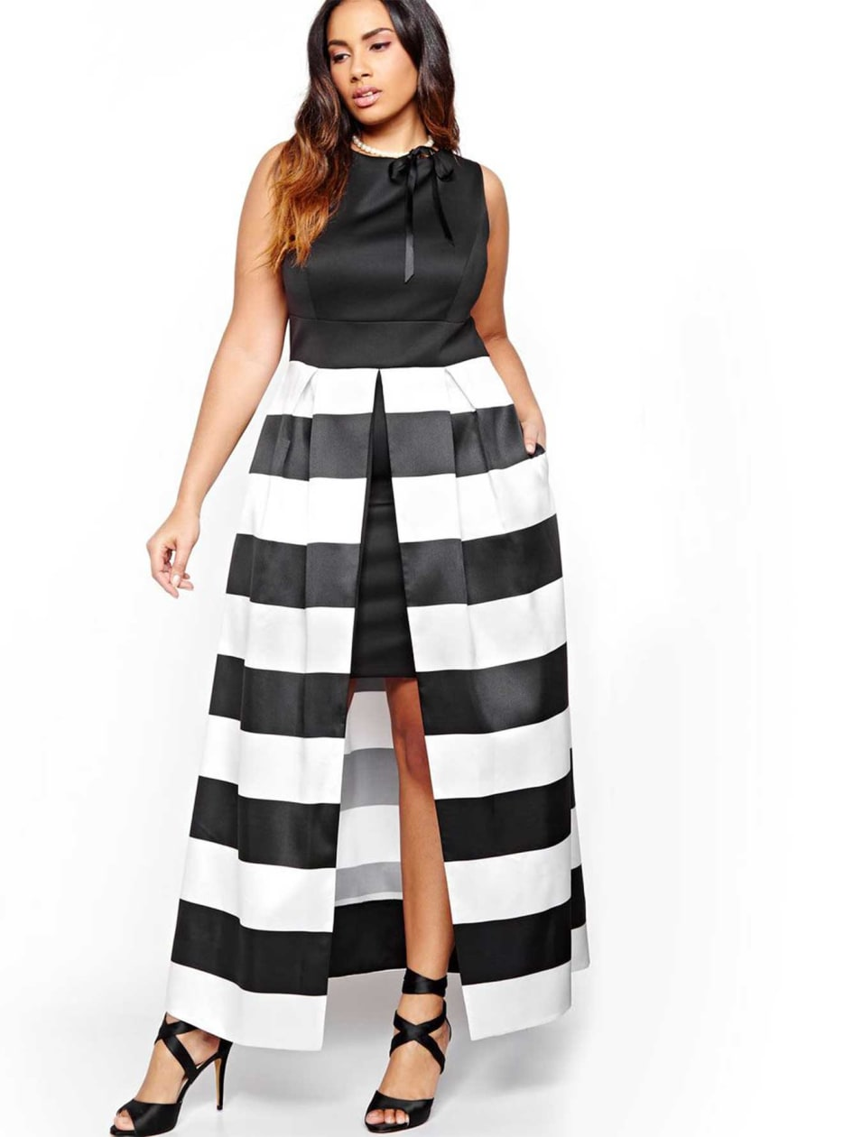 Sangria Long Dress with Bold Stripes
