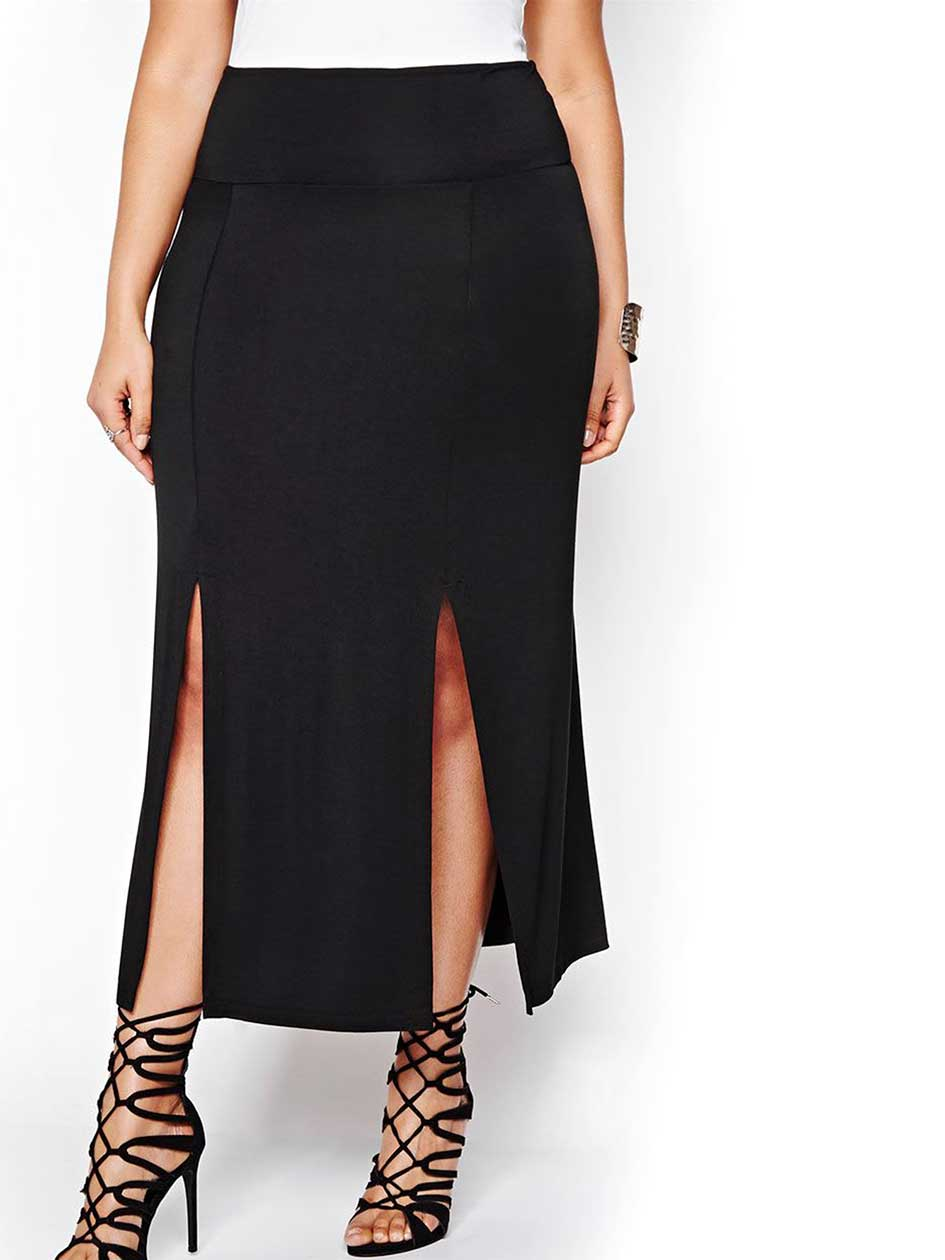 Michel Studio Long Solid Skirt with Slits