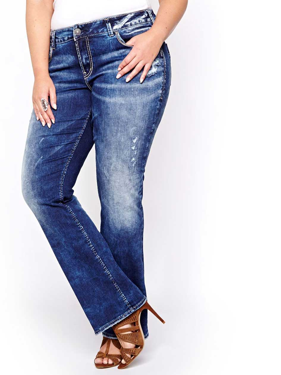 Silver Medium Wash Suki Slim Boot Cut Jeans