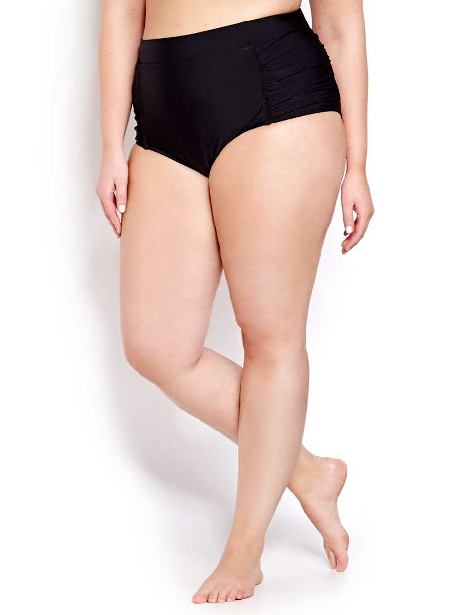 Cactus High Waist Swim Bottom.Black.X