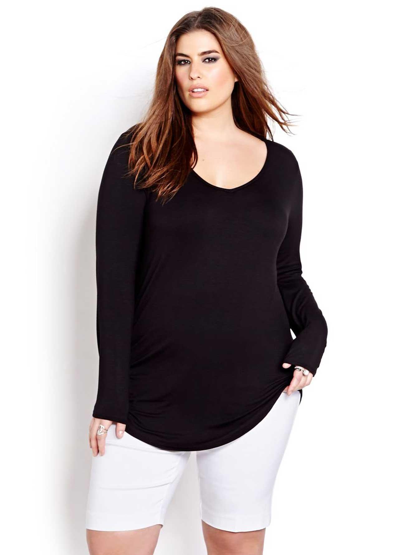 Long sleeve v neck t shirt addition elle for Long sleeve v neck tee shirts