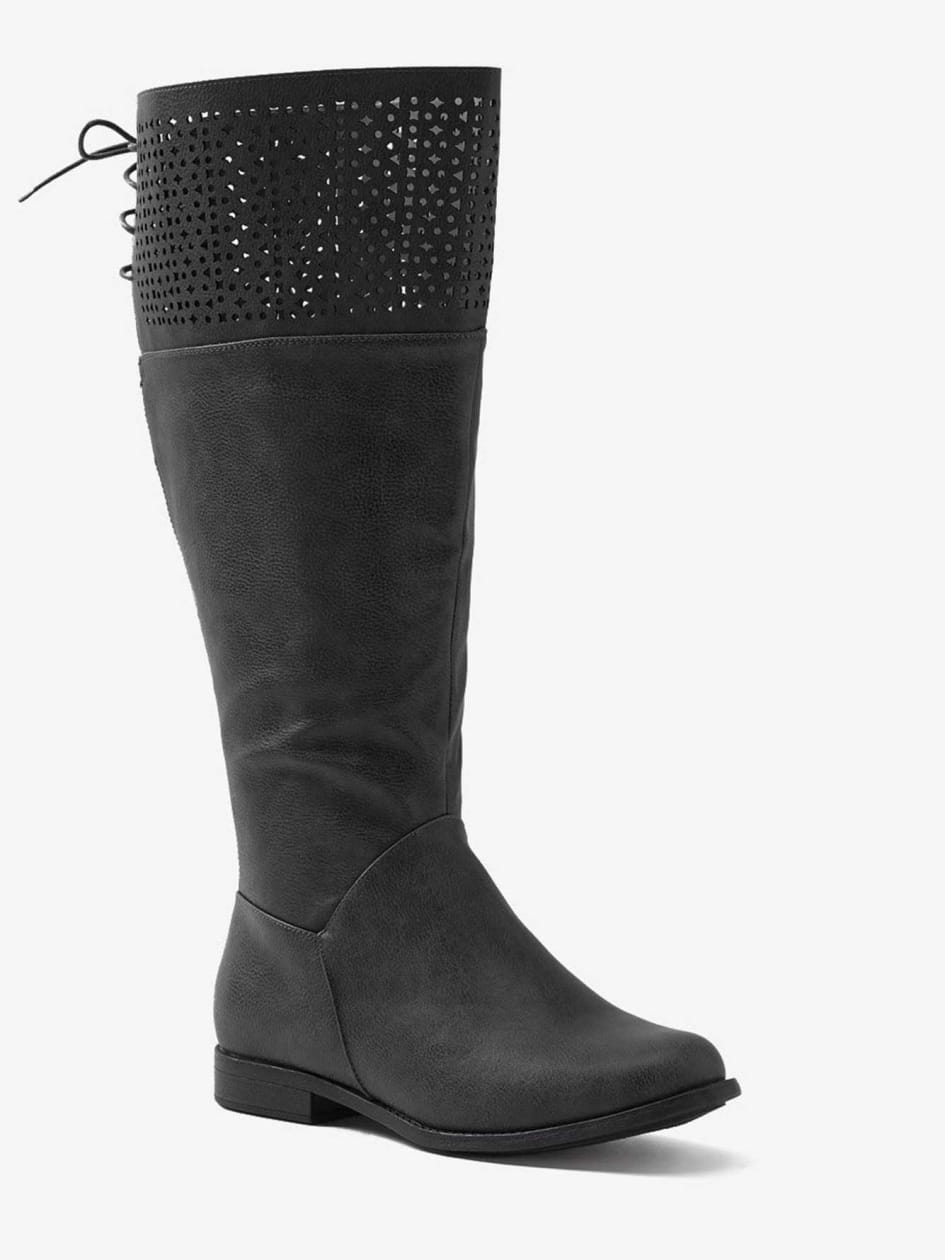 Botte haute avec perforations Natasha