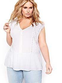 L&L Sleeveless Embroidered Peplum Blouse