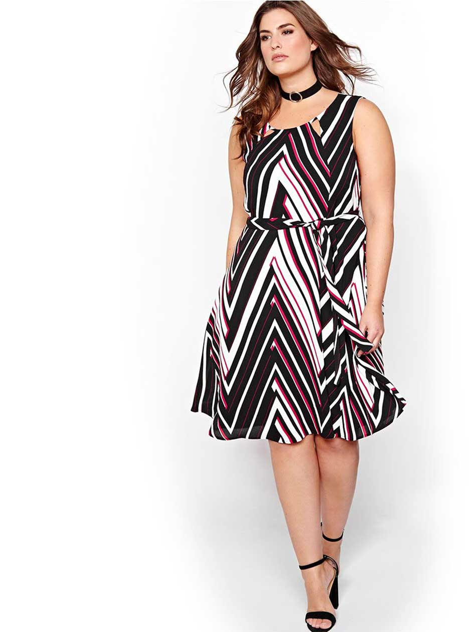 Michel Studio Striped Fit & Flare Dress